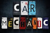 Car mechanic word on vintage license plates, concept sign — Stock Photo