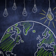 Concept world globe sketch with light bulb, ecology idea — Stock Photo