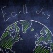 Concept world globe sketch on chalkboard, earth day — Stock Photo