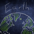 Concept world globe sketch on chalkboard, ecology — Stock Photo