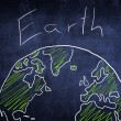 Concept world globe sketch on chalkboard, ecology — Stock Photo #28152559