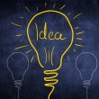 Idea sketch concept with light bulb, sign — Stock Photo