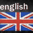 Stock Photo: School concept of learning english language, flag United Kingdom
