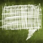 Sketch speech bubble on green chalkboard — Stock Photo #28155019