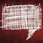 Sketch speech bubble on red chalkboard — Stock Photo #28155165