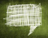 Sketch speech bubble on green chalkboard — Stock Photo