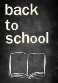 Back to school, chalk board with open empty book — Stock Photo