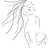 概念表达女人,时尚手绘图素描 — 图库照片