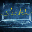 Stock Photo: Netbook computer screen internet concept with sketch word