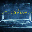 Sketch netbook computer screen business concept with creative word — Stock Photo