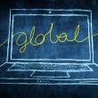Sketch netbook computer screen business concept with global word — Stock Photo #28587675