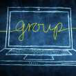 Sketch netbook computer screen business concept with group word — Stock Photo