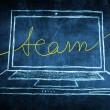 Sketch netbook computer screen business concept with team word — Stock Photo #28588325