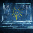 Sketch netbook computer screen concept with idea light bulb — Stock Photo