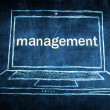 Sketch netbook computer screen concept with management word — Stock Photo #28589755