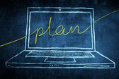 Bosquejo netbook ordenador pantalla concepto del negocio con la palabra plan — Foto de Stock