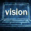 Sketch netbook computer screen concept with vision word — Stock Photo