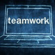 Sketch netbook computer screen concept with teamwork word — Stock Photo