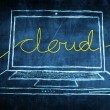 Sketch netbook computer screen internet concept with cloud word — Stock Photo