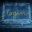 Stock Photo: Sketch netbook computer screen internet concept with login word