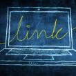 Stock Photo: Sketch netbook computer screen internet concept with link word