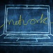 Sketch netbook computer screen internet concept with network word — Stock Photo