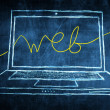 Sketch netbook computer screen internet concept with web word — Stock Photo