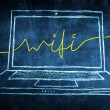 Sketch netbook computer screen internet concept with wifi word — Stock Photo #28592671