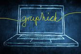 Sketch netbook computer screen internet concept with graphic word — Stock Photo