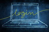 Sketch netbook computer screen internet concept with login word — Stock Photo