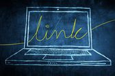 Sketch netbook computer screen internet concept with link word — Stock Photo