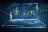 Sketch netbook computer screen internet concept with touch word — Stock Photo