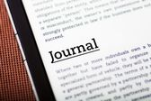Journal on tablet screen, ebook concept — Stock Photo