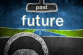 Past and future concept inside car, chalk sketch — Stock Photo