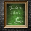 Back to School chalkboard in old wooden frame — Stock Photo