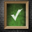 Stock Photo: Check mark symbol chalkboard in old wooden frame