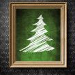 Stock Photo: Christmas tree symbol chalkboard in old wooden frame