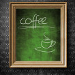 Stock Photo: Coffee menu chalkboard in old wooden frame