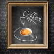 Coffee menu chalkboard in old wooden frame — Stock Photo