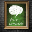 Stock Photo: Comments and bubble speech with copy-space chalkboard in old wooden frame