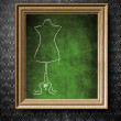 Fashion mannequin sketch with copy-space chalkboard in old wooden frame — Stock Photo