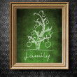 Geneological family tree chalkboard in old wooden frame — Stock Photo