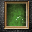 Home icon symbol with copy-space chalkboard in old wooden frame — Stock Photo