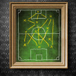 Soccer field board with tactics chalkboard in old wooden frame — Stock Photo