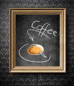 Coffee menu chalkboard in old wooden frame — Stock Photo