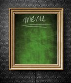 Menu chalkboard with copy-space in old wooden frame — Stock Photo