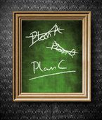 Plan A, Plan B or Plan C chalkboard in old wooden frame — Stock Photo