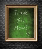 Thank You Mom chalkboard in old wooden frame — Stock Photo