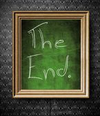 The End symbol chalkboard in old wooden frame — Stock Photo