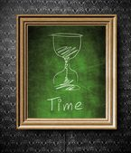 Time concept chalkboard in old wooden frame — Stock Photo